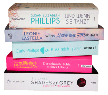 Stapel mit Liebesromanen
