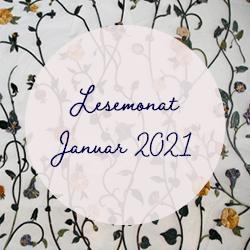 Bild mit floralem Hintergrund auf dem Lesemonat Januar 2021 steht